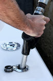 Boat Fuel. Close up of a person putting fuel into a boat Royalty Free Stock Photo