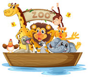 A boat full of animals Stock Photo