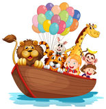 A boat full of animals vector illustration