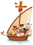 A boat full of animals Stock Images