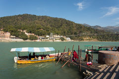 Boat on Ganga River in Rishikesh, India Stock Image