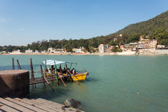 Boat on Ganga River in Rishikesh, India Stock Photography
