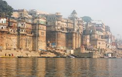 Varanasi India. Boat on the Ganges in India stock images