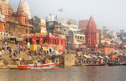 Varanasi  India. Boat on the Ganges in India Royalty Free Stock Image
