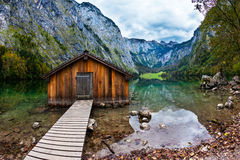 Boat garage in the lake Royalty Free Stock Images