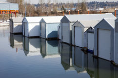 Boat garages in a marina, Portland OR. Stock Photography