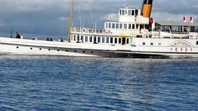Boat at Geneva lake stock footage
