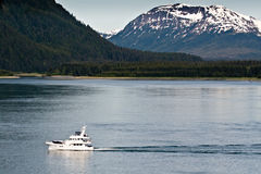 Boat in Glacier Bay, Alaska Royalty Free Stock Image