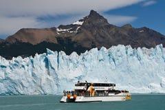 Boat at glacier Perito Moreno in El Calafate, Patagonia, Argentina royalty free stock photography