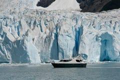 Boat at glacier Perito Moreno in El Calafate, Patagonia, Argentina. Lake Laro Argentina royalty free stock image