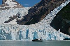 Boat at glacier Perito Moreno in El Calafate, Patagonia, Argentina. Lake Laro Argentina stock photo