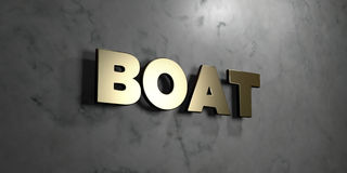 Boat - Gold sign mounted on glossy marble wall - 3D rendered royalty free stock illustration. This image can be used for an online website banner ad or a print vector illustration