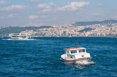 Boat on golden horn in Istanbul Stock Photo