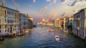 Boat at  Grand Canal. In Venice, Italy Stock Photos