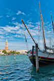 Boat in Grand Canal with San Giorgio Island Stock Image