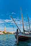 Boat in Grand Canal with San Giorgio Island Royalty Free Stock Photography