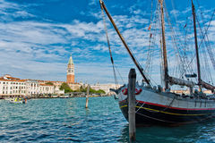 Boat in Grand Canal with San Giorgio Island Royalty Free Stock Images