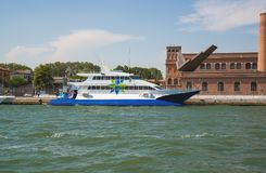 Boat in the Grand Canal in Venice, Italy. Royalty Free Stock Images