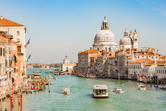 The Boat in grand canal in Venice, Italy Stock Photos