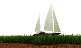 Boat on green grass Stock Images