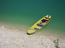 Boat on green lake Stock Image