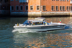 Boat of the Guardia die Finanza in Venice, Italy Royalty Free Stock Images