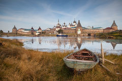Boat at  gulf .Solovetsky monastery Royalty Free Stock Image