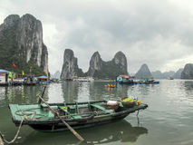 Boat in Ha Long Bay, Vietnam. A boat floating in Ha Long Bay, Vietnam Royalty Free Stock Image