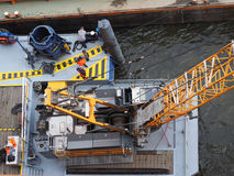 Boat in Hamburg port Stock Images