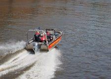 Boat in Hamburg port Stock Image