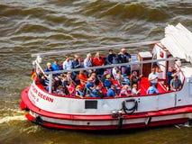 Boat in Hamburg port hdr. HAMBURG, GERMANY - CIRCA MAY 2017: Boat in Hamburg port, hdr Royalty Free Stock Photo