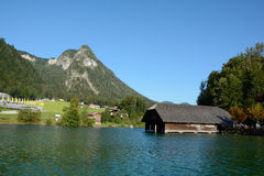 Boat hangar and mountain in Schonau am Konigssee, Germany Royalty Free Stock Photo