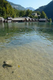 Boat hangars at lake in Schonau am Konigssee, Germany Royalty Free Stock Photography