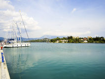 Boat harbor on corfu Stock Photo