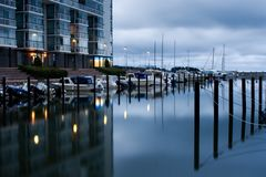 Boat harbor in early morning Royalty Free Stock Photography