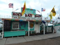 Boat harbor fishing bait shop and seafood market stock photography