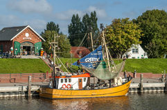 Boat in harbor of Greetsiel, Germany Royalty Free Stock Photography