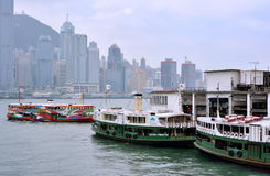 Boat harbor, Hongkong Victoria harbor Stock Photo
