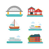 Boat and Harbor Icon Set Stock Photos