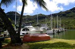 Boat Harbor at Kalapaki Bay. Upturned red skiff sits on the shore with moored boats sitting in the small boat harbor.  Palm trees in foreground and mountains in Royalty Free Stock Image