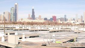Boat harbor on Lake Michigan with snow and ice stock footage