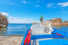 Boat at the harbor / at land Stock Photos
