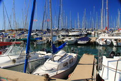Boat Harbor on the Mediterranean Sea in Herzliya Israel Stock Images