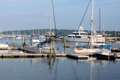 Seaport Boat Ship harbor ocean summer dock lake. Boat harbor ship ocean water port maine summer dock Stock Photography