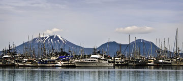 Boat Harbor, Sitka Alaska. Small boat harbor, with fishing boats and pleasure boats, on the island community of Sitka, located in coastal  Alaska in the inside Stock Image