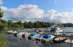 Boat harbor in Waldemarsviken. At the water on Waldemarsudde in Stockholm Stock Photo