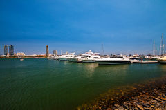 Boat Harbour. Luxury boats moored on the Broadwater, Gold Coast Stock Image