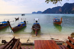 Boat harbour, beach, Tonsay Bay, Phi Phi, Thailand Stock Photos