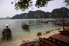 Boat harbour, beach, Tonsay Bay, Phi Phi, Thailand Royalty Free Stock Images