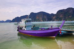 Boat harbour, beach, Tonsay Bay, Phi Phi, Thailand Stock Photo